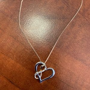 Rose gold and white gold heart necklace